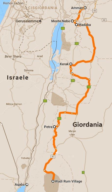 mappa tour Giordania